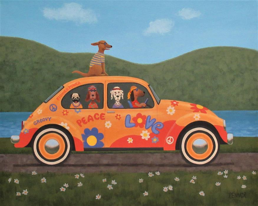 Original art for sale at UGallery.com | Happy Hippies by Carolyn Pennor | $1,375 | acrylic painting | 24' h x 30' w | ..\art\acrylic-painting-Happy-Hippies