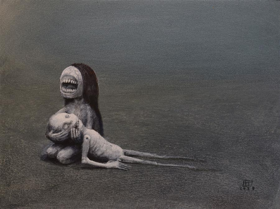 Original art for sale at UGallery.com | Mourning by Krzysztof Iwin | $1,550 | acrylic painting | 11.81' h x 15.75' w | ..\art\acrylic-painting-Mourning