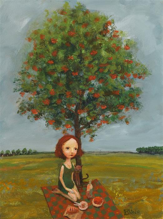 Original art for sale at UGallery.com | Breakfast under Rowan by Krzysztof Iwin | $1,750 | acrylic painting | 15.75' h x 11.81' w | ..\art\acrylic-painting-Breakfast-under-Rowan