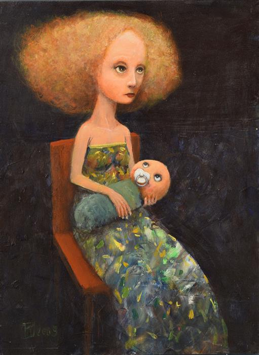Original art for sale at UGallery.com | Mother with Child by Krzysztof Iwin | $1,650 | acrylic painting | 15.75' h x 11.81' w | ..\art\acrylic-painting-Mother-with-Child