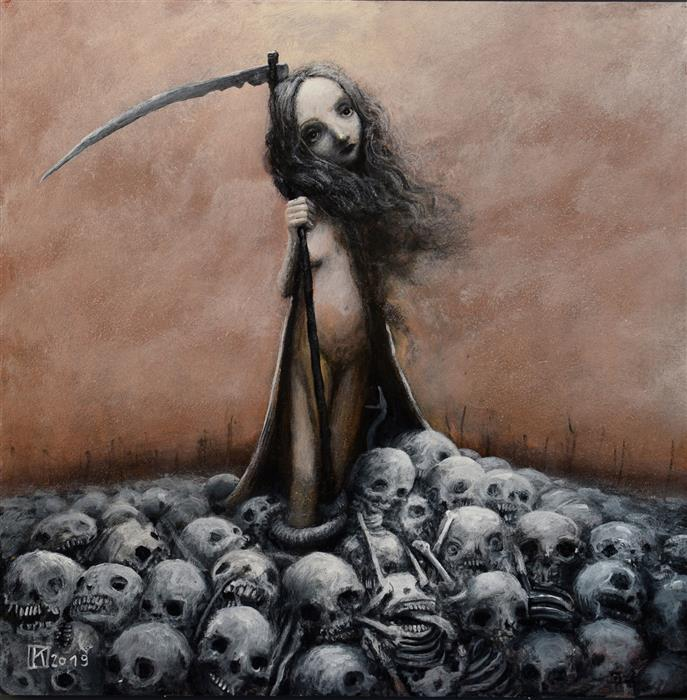 Original art for sale at UGallery.com | Reaper by Krzysztof Iwin | $1,900 | acrylic painting | 15.75' h x 15.75' w | ..\art\acrylic-painting-Reaper