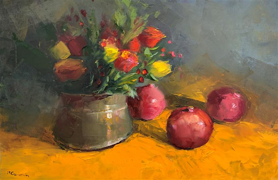 Original art for sale at UGallery.com | Farmers Market Pomegranates by Mary Beth Gaiarin | $1,900 | oil painting | 24' h x 36' w | ..\art\oil-painting-Farmers-Market-Pomegranates