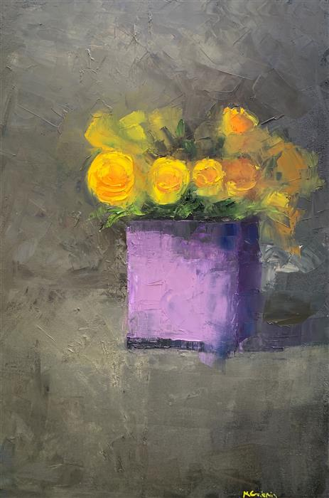 Original art for sale at UGallery.com   Roses in Lavender by Mary Beth Gaiarin   $1,900   oil painting   36' h x 24' w   ..\art\oil-painting-Roses-in-Lavender