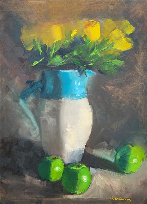 Original art for sale at UGallery.com | Yellow Roses and Green Apples by Mary Beth Gaiarin | $950 | oil painting | 24' h x 18' w | ..\art\oil-painting-Yellow-Roses-and-Green-Apples