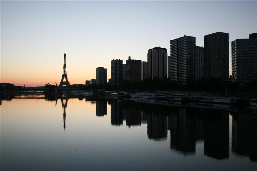 Original art for sale at UGallery.com | Sunrise Reflections in Paris by Carina Okula | $150 | photography | 15' h x 10' w | ..\art\photography-Sunrise-Reflections-in-Paris