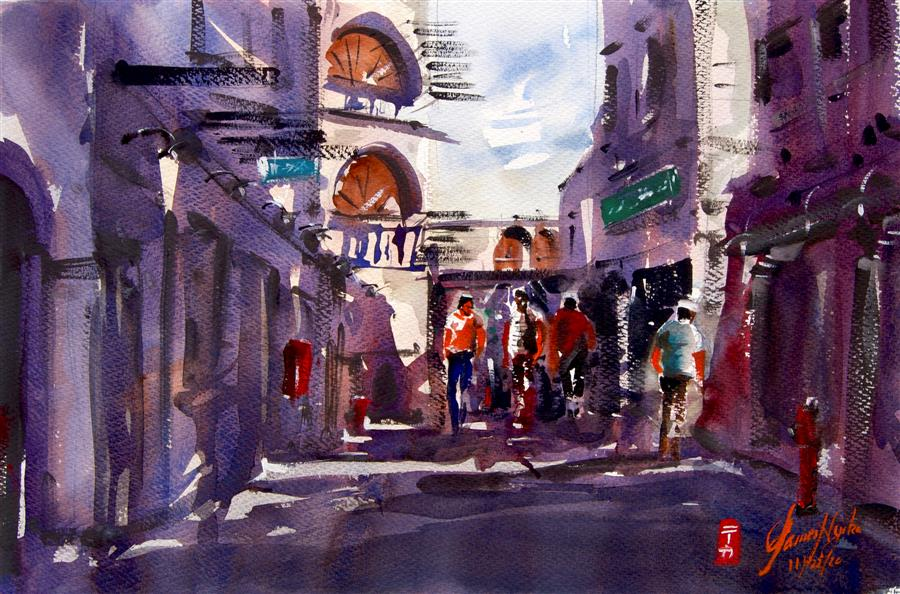 Original art for sale at UGallery.com | Doha Side Street by James Nyika | $600 | watercolor painting | 15' h x 22' w | ..\art\watercolor-painting-Doha-Side-Street