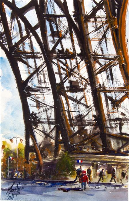 Original art for sale at UGallery.com | Eiffel by James Nyika | $600 | watercolor painting | 22' h x 15' w | ..\art\watercolor-painting-Eiffel