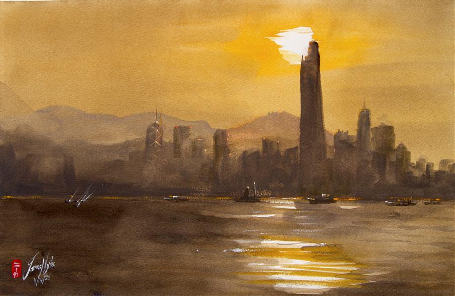 Original art for sale at UGallery.com | Dusk, Hong Kong Harbor by James Nyika | $600 | watercolor painting | 15' h x 22' w | ..\art\watercolor-painting-Dusk-Hong-Kong-Harbor