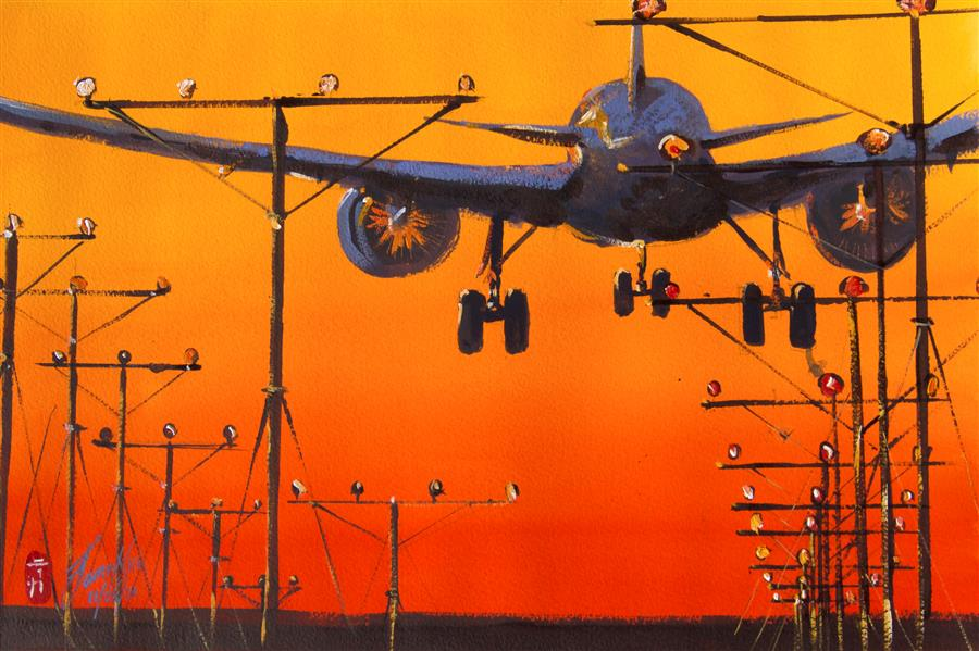 Original art for sale at UGallery.com | Approaching Minimums by James Nyika | $600 | watercolor painting | 15' h x 22' w | ..\art\watercolor-painting-Approaching-Minimums