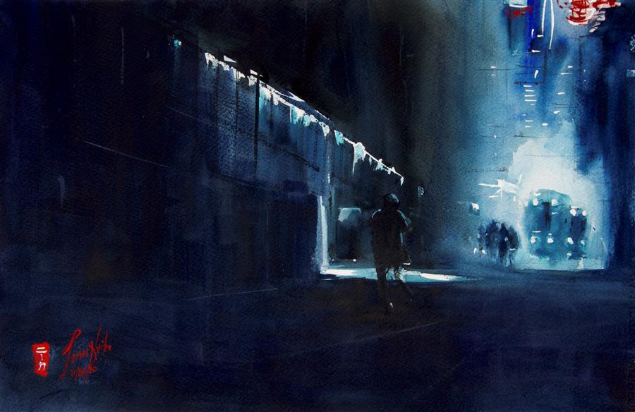 Original art for sale at UGallery.com | Street Cleaners by James Nyika | $600 | watercolor painting | 15' h x 22' w | ..\art\watercolor-painting-Street-Cleaners