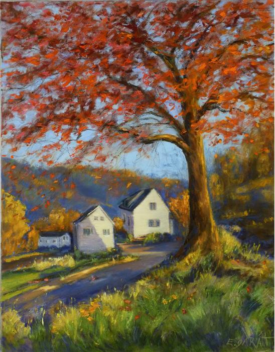 Original art for sale at UGallery.com | Quiet Cove, Autumn Light by Elizabeth Garat | $1,450 | oil painting | 28' h x 22' w | ..\art\oil-painting-Quiet-Cove-Autumn-Light