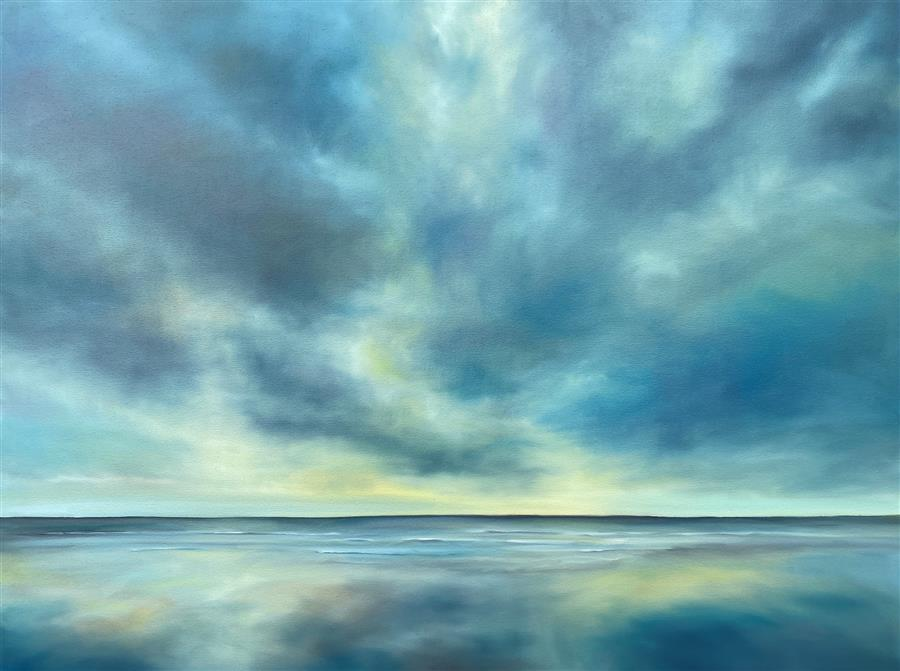 Original art for sale at UGallery.com | Quiet Beach Light by Nancy Hughes Miller | $2,275 | oil painting | 30' h x 40' w | ..\art\oil-painting-Quiet-Beach-Light