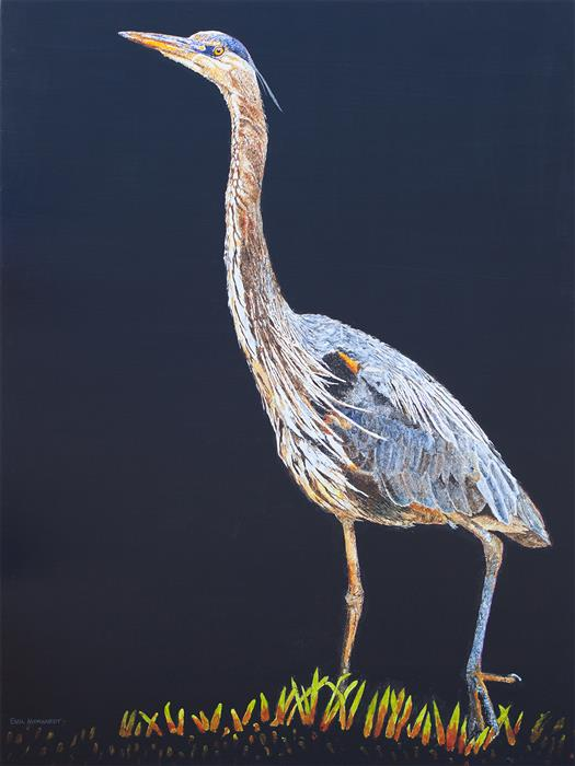 Original art for sale at UGallery.com | Great Blue Heron #6 by Emil Morhardt | $2,600 | acrylic painting | 48' h x 36' w | ..\art\acrylic-painting-Great-Blue-Heron-6