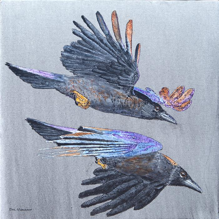 Original art for sale at UGallery.com | Speeding Crows by Emil Morhardt | $1,250 | acrylic painting | 24' h x 24' w | ..\art\acrylic-painting-Speeding-Crows
