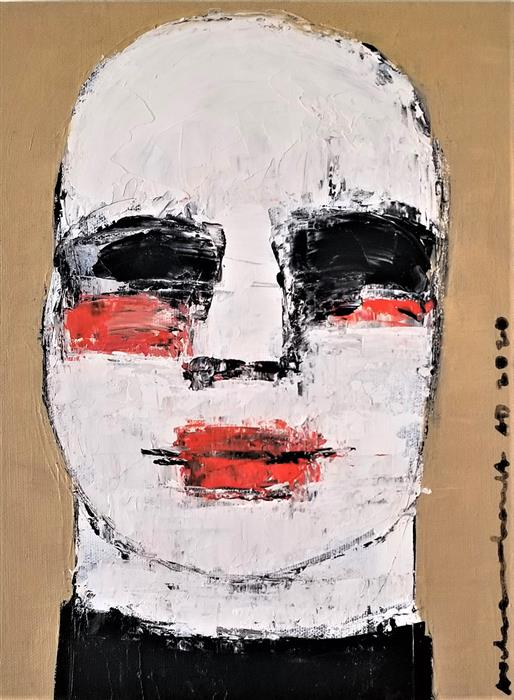 Original art for sale at UGallery.com | Mime Portrait by Paulina Archambault | $400 | acrylic painting | 12' h x 9' w | ..\art\acrylic-painting-Mime-Portrait