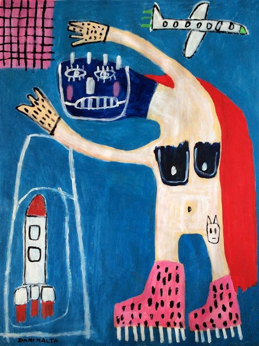 Original art for sale at UGallery.com | Solo Flight by Daniel Malta | $1,475 | acrylic painting | 51.18' h x 39.37' w | ..\art\acrylic-painting-Solo-Flight