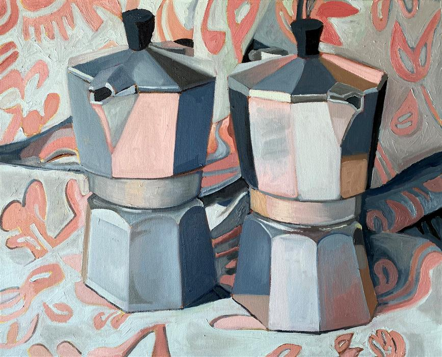 Original art for sale at UGallery.com | Pink Pattern Coffee by Rachel Srinivasan | $750 | oil painting | 16' h x 20' w | ..\art\oil-painting-Pink-Pattern-Coffee
