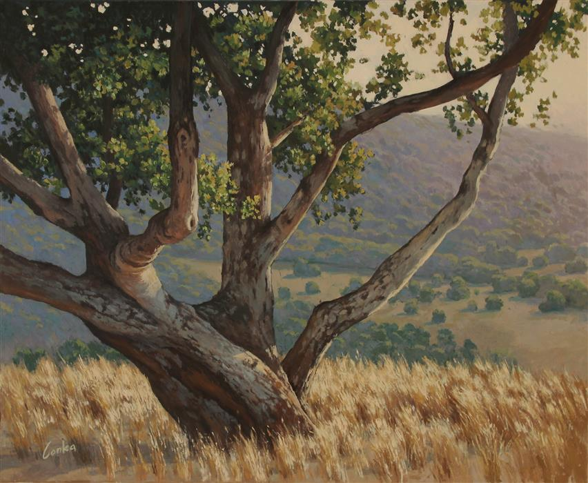 Original art for sale at UGallery.com | The Old Oak by Stefan Conka | $2,000 | oil painting | 25.5' h x 31.4' w | ..\art\oil-painting-The-Old-Oak