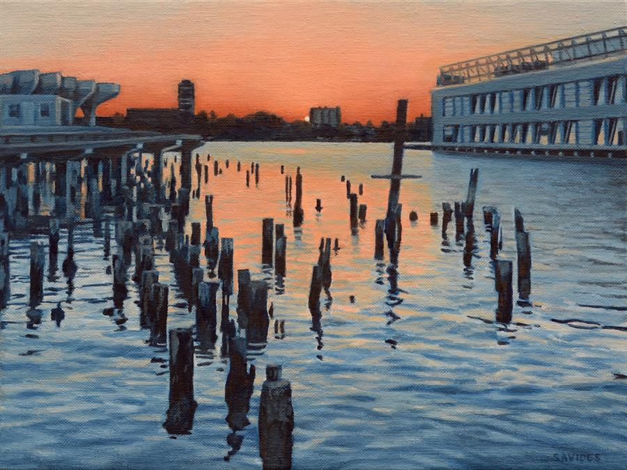 Original art for sale at UGallery.com   Hudson River Sunset and the Ghost of Pier 56 by Nick Savides   $875   oil painting   9' h x 12' w   ..\art\oil-painting-Hudson-River-Sunset-and-the-Ghost-of-Pier-56