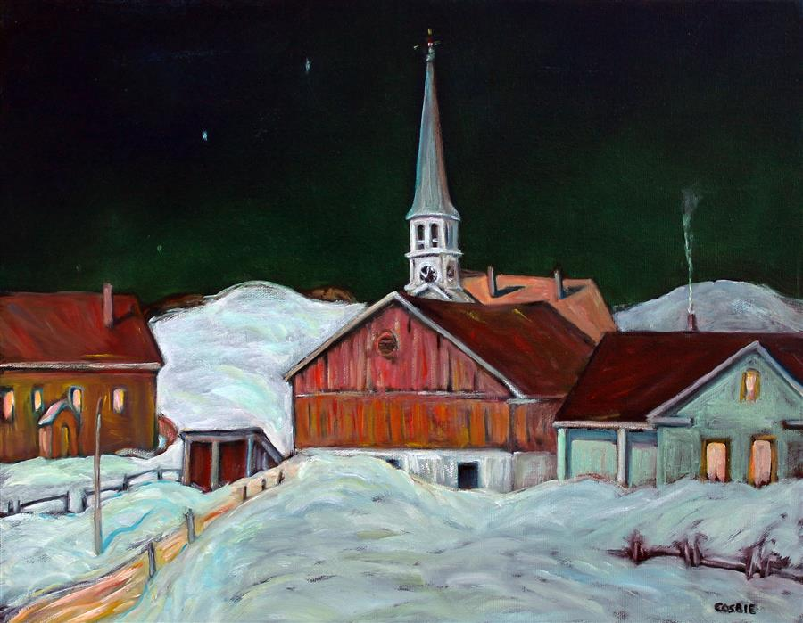 Original art for sale at UGallery.com | Peacham Vermont Nocturne by Doug Cosbie | $435 | oil painting | 14' h x 18' w | ..\art\oil-painting-Peacham-Vermont-Nocturne