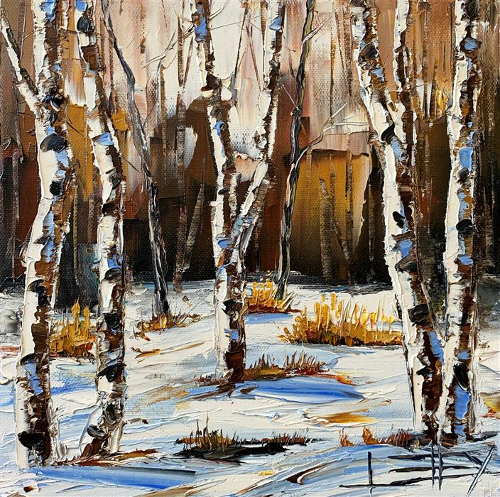 Original art for sale at UGallery.com | Winter Prelude by Lisa Elley | $425 | oil painting | 10' h x 10' w | ..\art\oil-painting-Winter-Prelude