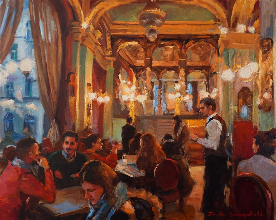 Original art for sale at UGallery.com | Budapest Cafe in Winter by Jonelle Summerfield | $950 | oil painting | 16' h x 20' w | ..\art\oil-painting-Budapest-Cafe-in-Winter