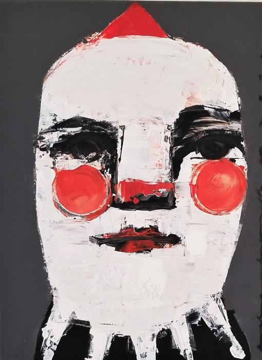 Original art for sale at UGallery.com | Clown II by Paulina Archambault | $400 | acrylic painting | 12' h x 9' w | ..\art\acrylic-painting-Clown-II