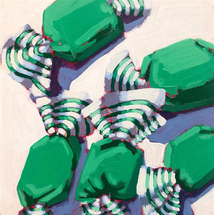 Original art for sale at UGallery.com | Green Taffy No. 12 by Nicole Newsted | $575 | acrylic painting | 8' h x 8' w | ..\art\acrylic-painting-Green-Taffy-No-12