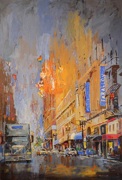 Original art for sale at UGallery.com | Post Street in San Francisco by Yuvak Tuladhar | $3,900 | acrylic painting | 54' h x 36' w | ..\art\acrylic-painting-Post-Street-in-San-Francisco
