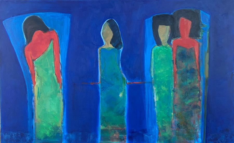 Original art for sale at UGallery.com | Alone & Together by Robin Okun | $2,300 | acrylic painting | 30' h x 48' w | ..\art\acrylic-painting-Alone-Together