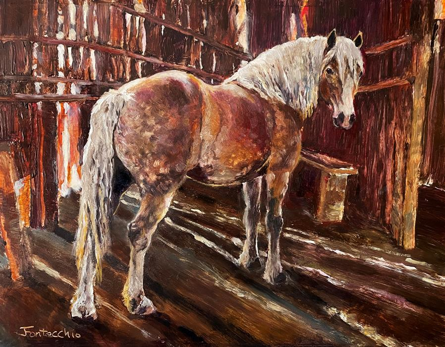 Original art for sale at UGallery.com | The Haflinger by Jan Fontecchio Perley | $625 | oil painting | 11' h x 14' w | ..\art\oil-painting-The-Haflinger