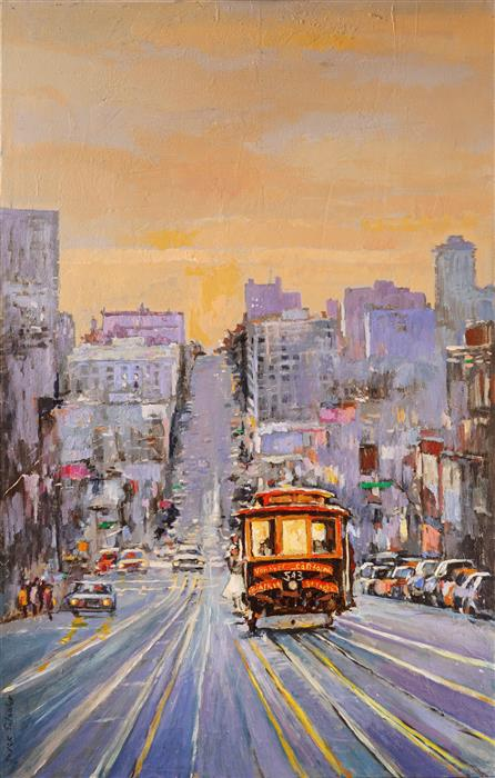 Original art for sale at UGallery.com | Cable Car No. 543 on California Street by Yuvak Tuladhar | $3,400 | acrylic painting | 48' h x 30' w | ..\art\acrylic-painting-Cable-Car-No-543-on-California-Street
