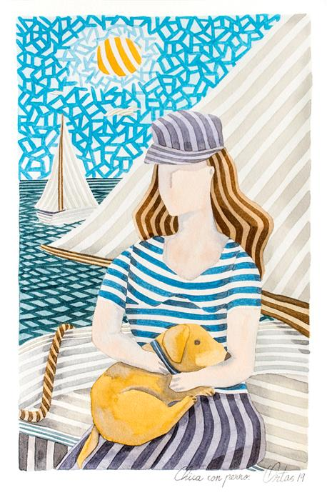 Original art for sale at UGallery.com | Girl with Dog by Javier Ortas | $1,180 | watercolor painting | 19.68' h x 13.77' w | ..\art\watercolor-painting-Girl-with-Dog