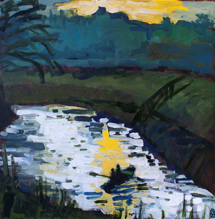 Original art for sale at UGallery.com | Boating on the Marsh by Robert Hofherr | $1,450 | acrylic painting | 24' h x 24' w | ..\art\acrylic-painting-Boating-on-the-Marsh
