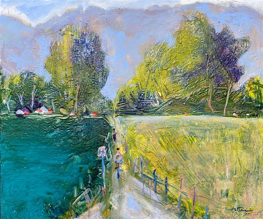 Original art for sale at UGallery.com | Biking at the Marina by James Hartman | $1,275 | oil painting | 22.5' h x 28' w | ..\art\oil-painting-Biking-at-the-Marina