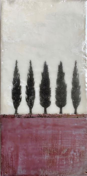 Original art for sale at UGallery.com | Remember the Cypress by Shari Lyon | $400 | encaustic artwork | 12' h x 6' w | ..\art\encaustic-artwork-Remember-the-Cypress