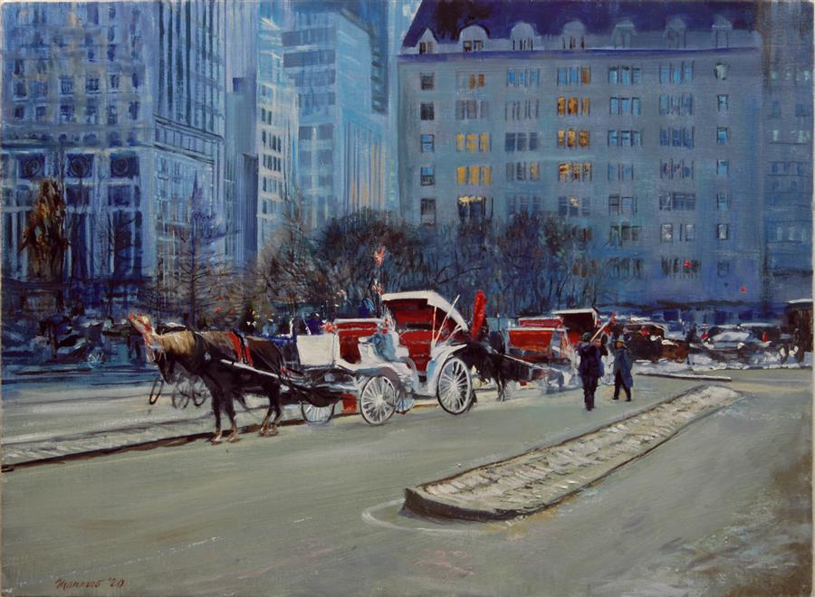 Original art for sale at UGallery.com | The Plaza before the Snowfall by Onelio Marrero | $1,100 | oil painting | 18.25' h x 24.25' w | ..\art\oil-painting-The-Plaza-before-the-Snowfall