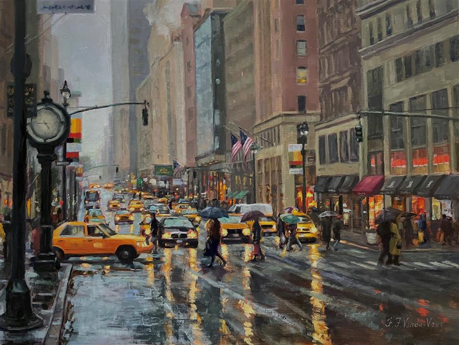 Original art for sale at UGallery.com | Reflections of New York by Faye Vander Veer | $2,900 | oil painting | 18' h x 24' w | ..\art\oil-painting-Reflections-of-New-York