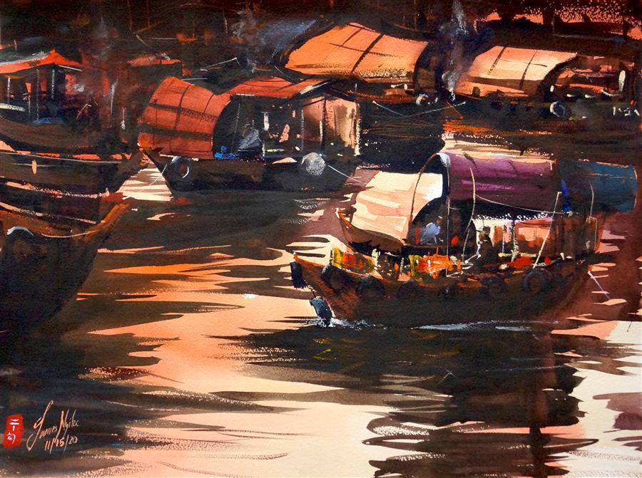 Original art for sale at UGallery.com | Hong Kong - The Boat Trader by James Nyika | $700 | watercolor painting | 18' h x 24' w | ..\art\watercolor-painting-Hong-Kong-The-Boat-Trader