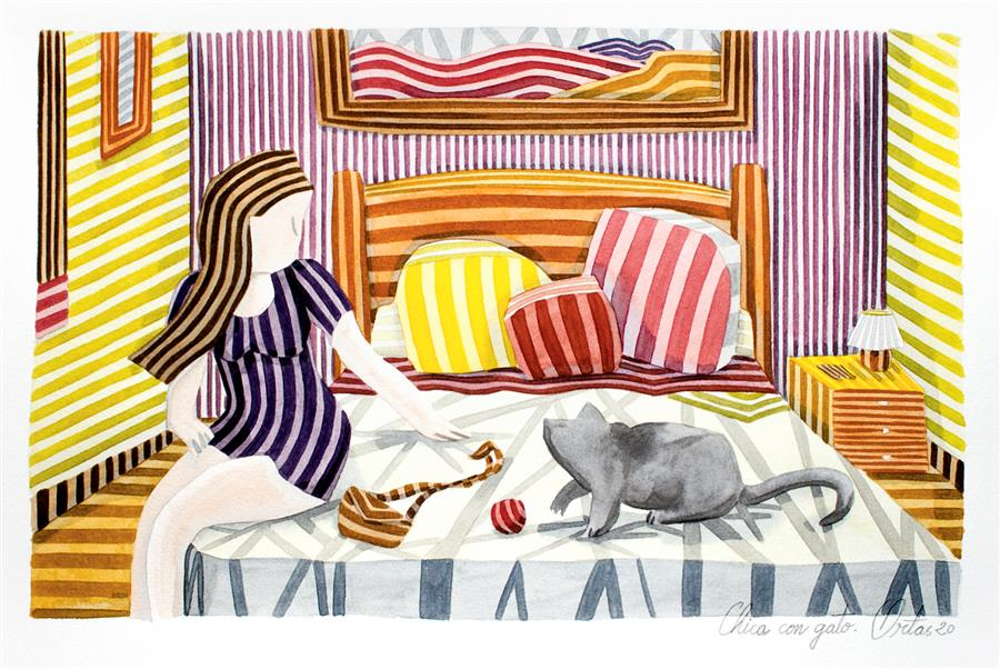 Original art for sale at UGallery.com | Girl with Cat by Javier Ortas | $1,180 | watercolor painting | 13.77' h x 19.68' w | ..\art\watercolor-painting-Girl-with-Cat
