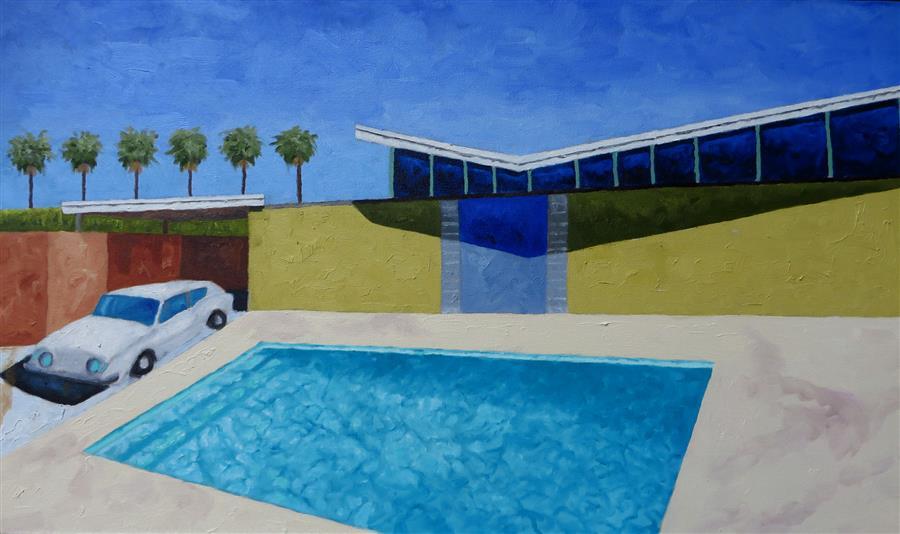 Original art for sale at UGallery.com | Studebaker Avanti by Mitchell Freifeld | $900 | oil painting | 20' h x 35' w | ..\art\oil-painting-Studebaker-Avanti