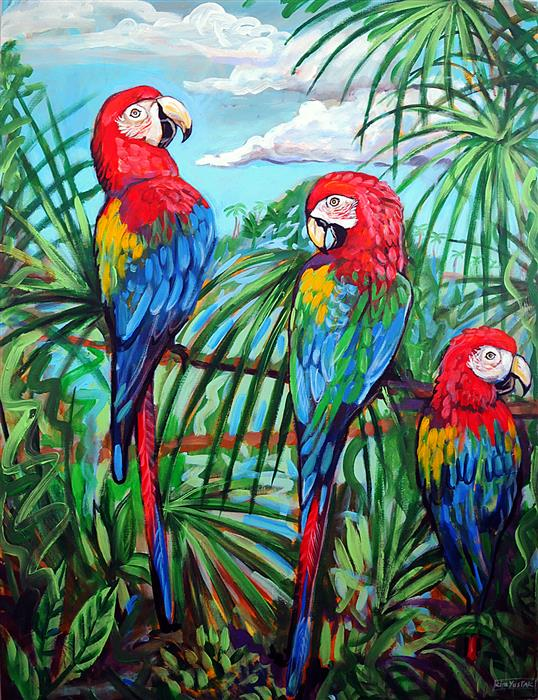 Original art for sale at UGallery.com | Scarlet Macaws by Kira Yustak | $1,875 | acrylic painting | 40' h x 30' w | ..\art\acrylic-painting-Scarlet-Macaws