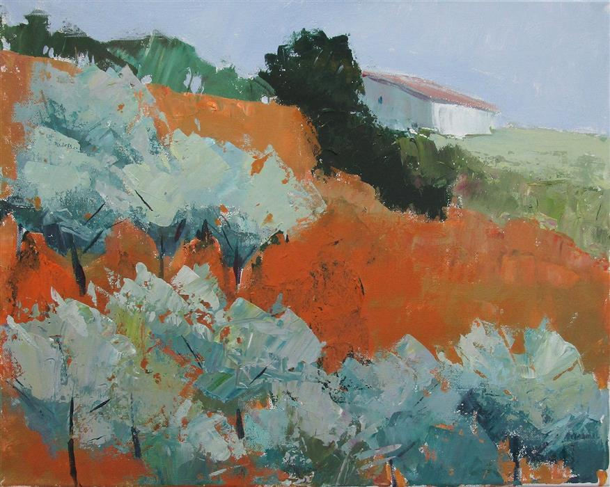 Original art for sale at UGallery.com | House on Hillside, Italy by Janet Dyer | $780 | acrylic painting | 16' h x 20' w | ..\art\acrylic-painting-House-on-Hillside-Italy