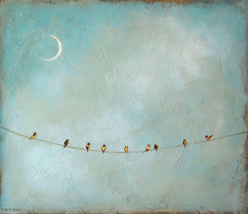 Original art for sale at UGallery.com | Nine at Moonlight by Sally Adams | $1,925 | acrylic painting | 24' h x 28' w | ..\art\acrylic-painting-Nine-at-Moonlight