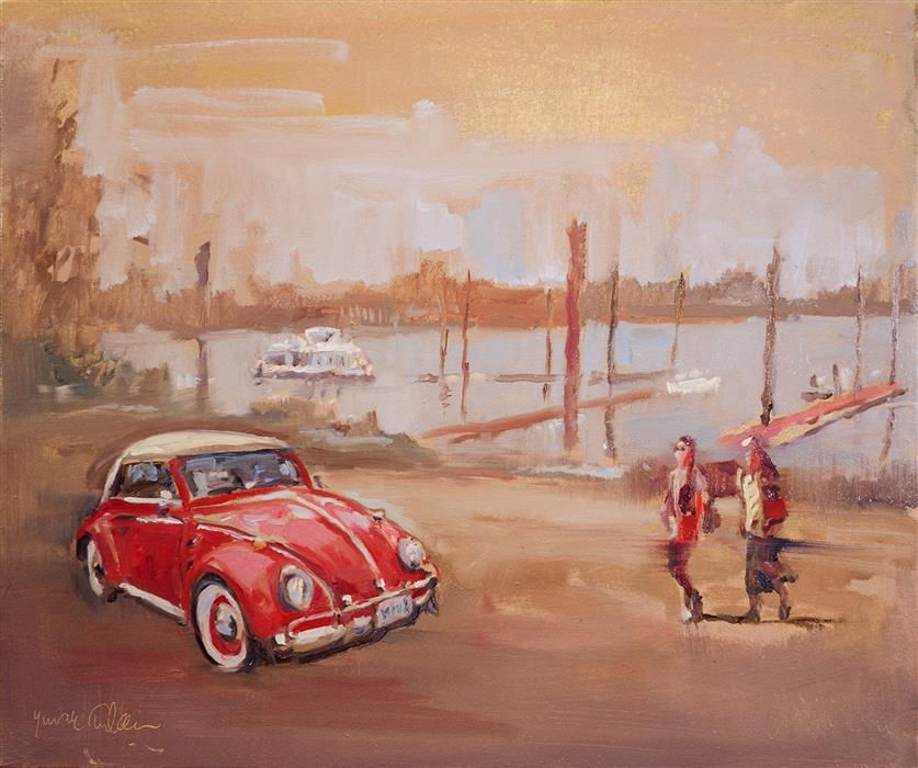 Original art for sale at UGallery.com | Red VW Bug in a Marina by Yuvak Tuladhar | $850 | oil painting | 20' h x 24' w | ..\art\oil-painting-Red-VW-Bug-in-a-Marina