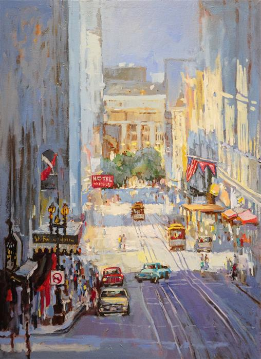 Original art for sale at UGallery.com | Powell Street near Union Square by Yuvak Tuladhar | $2,100 | oil painting | 36' h x 26' w | ..\art\oil-painting-Powell-Street-near-Union-Square