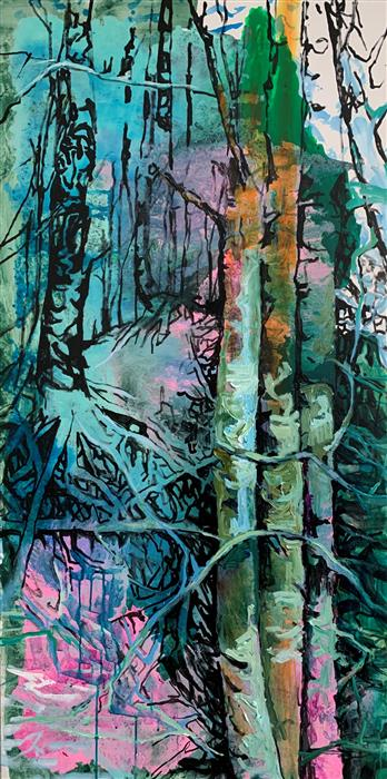 Original art for sale at UGallery.com | Encounter by Julia Hacker | $3,200 | acrylic painting | 60' h x 30' w | ..\art\acrylic-painting-Encounter-70065