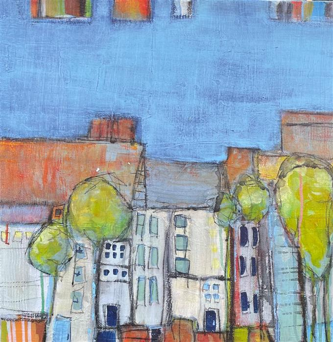 Original art for sale at UGallery.com   Street Scene 1 by Pat Forbes   $650   acrylic painting   20' h x 20' w   ..\art\acrylic-painting-Street-Scene-1