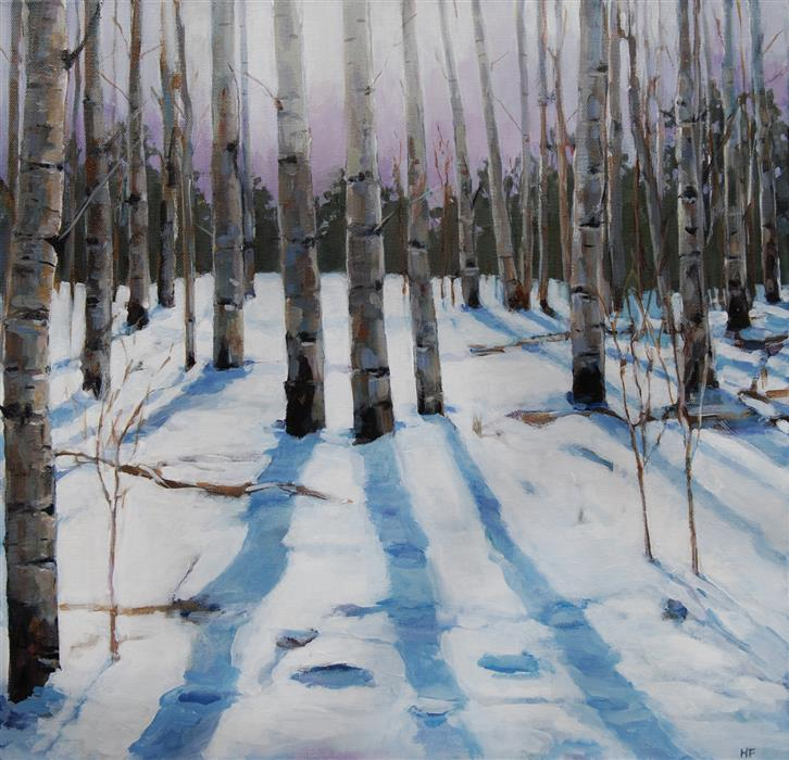 Original art for sale at UGallery.com | Storm Glow in Aspen Grove by Heather Foster | $1,700 | acrylic painting | 18' h x 18' w | ..\art\acrylic-painting-Storm-Glow-in-Aspen-Grove