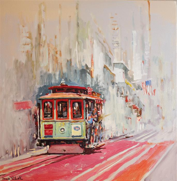 Original art for sale at UGallery.com | Cable Car No. 13 on Powell Street by Yuvak Tuladhar | $1,000 | oil painting | 24' h x 24' w | ..\art\oil-painting-Cable-Car-No-13-on-Powell-Street